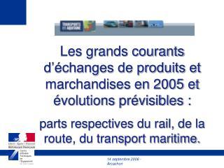 Les grands courants d'échanges de produits et marchandises en 2005 et évolutions prévisibles :