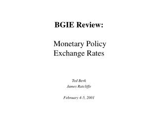 BGIE Review:  Monetary Policy Exchange Rates
