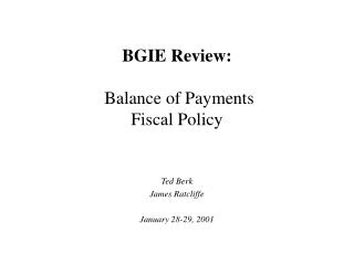 BGIE Review:  Balance of Payments Fiscal Policy