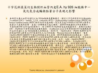 十字花科蔬菜衍生物對於血管內皮 E.A. hy 926  細胞株中一氧化氮合成酶與黏著分子表現之影響