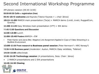 Second International Workshop Programme
