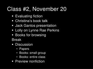 Class #2, November 20