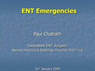 ENT Emergencies