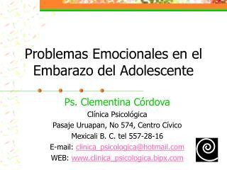 Problemas Emocionales en el Embarazo del Adolescente