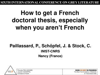 How to get a French doctoral thesis, especially when you aren't French