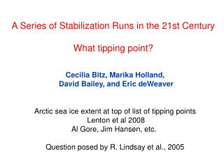 A Series of Stabilization Runs in the 21st Century What tipping point?
