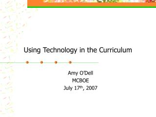 Using Technology in the Curriculum
