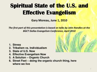 Stress Tribalism vs. Individualism State of U.S. Now Effective Evangelism Now