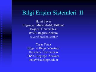 Bilgi Erişim Sistemleri  II