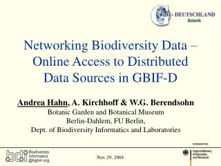 Networking Biodiversity Data – Online Access to Distributed Data Sources in GBIF-D