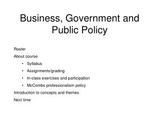 Business, Government and Public Policy