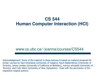 CS 544  Human Computer Interaction (HCI)