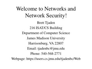 Welcome to Networks and Network Security