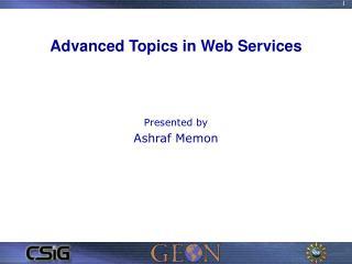 Advanced Topics in Web Services