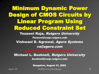 Minimum Dynamic Power Design of CMOS Circuits by Linear Program Using Reduced Constraint Set