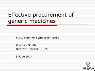 Effective procurement of generic medicines