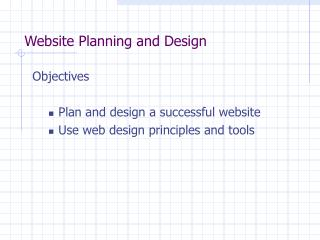 Website Planning and Design