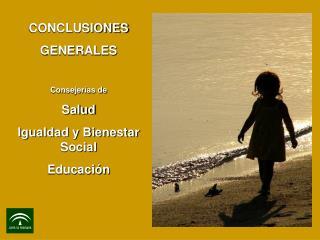 CONCLUSIONES  GENERALES Consejer�as de Salud Igualdad y Bienestar Social Educaci�n
