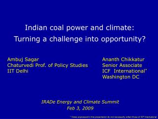 Indian coal power and climate: Turning a challenge into opportunity?