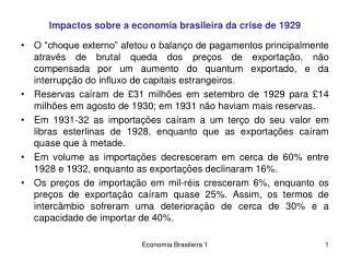 Impactos sobre a economia brasileira da crise de 1929