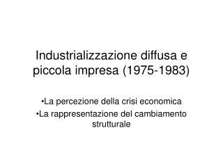 Industrializzazione diffusa e piccola impresa (1975-1983)
