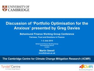 Discussion of 'Portfolio Optimisation for the Anxious' presented by Greg Davies