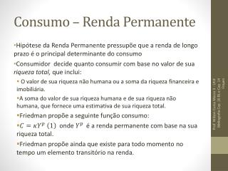 Consumo � Renda Permanente