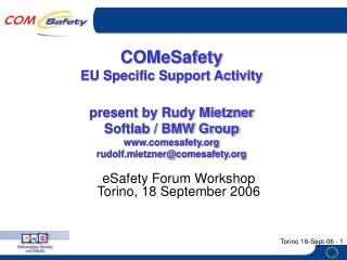 eSafety Forum Workshop Torino, 18 September 2006