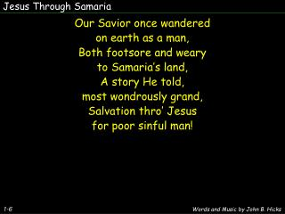 Jesus Through Samaria