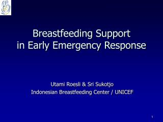 Breastfeeding Support  in Early Emergency Response