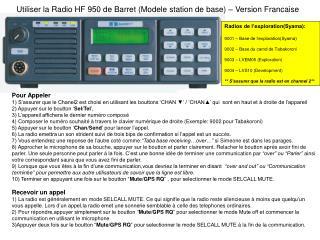 Utiliser la Radio HF 950 de Barret (Modele station de base) – Version Francaise