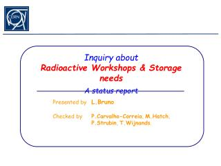 Inquiry about Radioactive Workshops & Storage needs A status report
