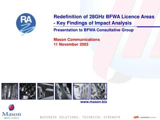 Redefinition of 28GHz BFWA Licence Areas  - Key Findings of Impact Analysis