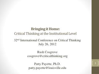 Bringing it Home:  Critical Thinking at the Institutional Level