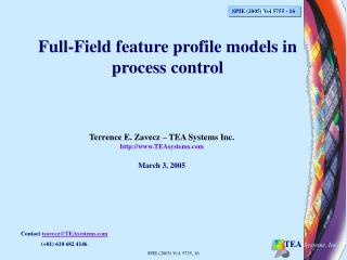 Full-Field feature profile models in process control