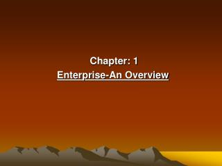 Chapter: 1  Enterprise-An Overview