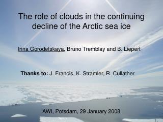 The role of clouds in the continuing decline of the Arctic sea ice