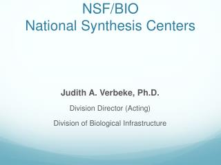 NSF/BIO  National Synthesis Centers