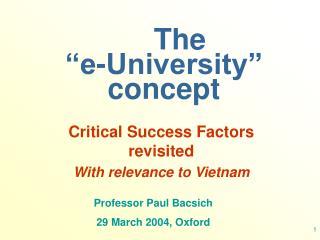 The   �e-University� concept