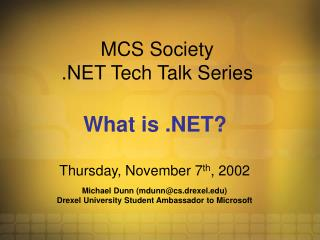 MCS Society .NET Tech Talk Series