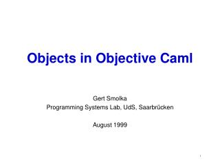 Objects in Objective Caml
