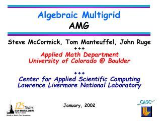 Algebraic Multigrid AMG
