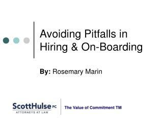 Avoiding Pitfalls in Hiring & On-Boarding