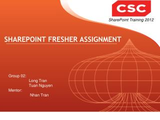 SHAREPOINT FRESHER ASSIGNMENT