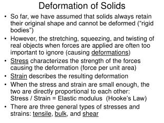 Deformation of Solids