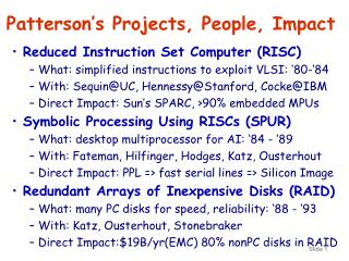 Patterson's Projects, People, Impact