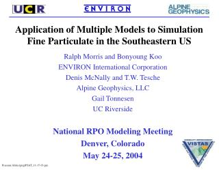 Application of Multiple Models to Simulation Fine Particulate in the Southeastern US