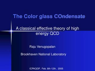 The Color glass COndensate