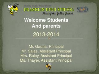 Welcome Students And parents