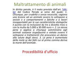 Maltrattamento di animali